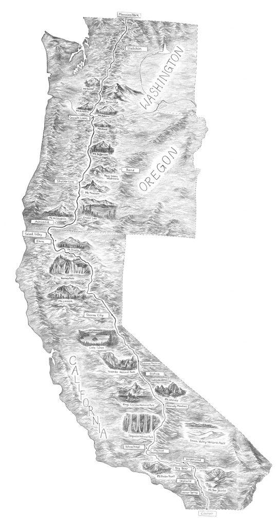 Pacific Crest Trail Landkarte