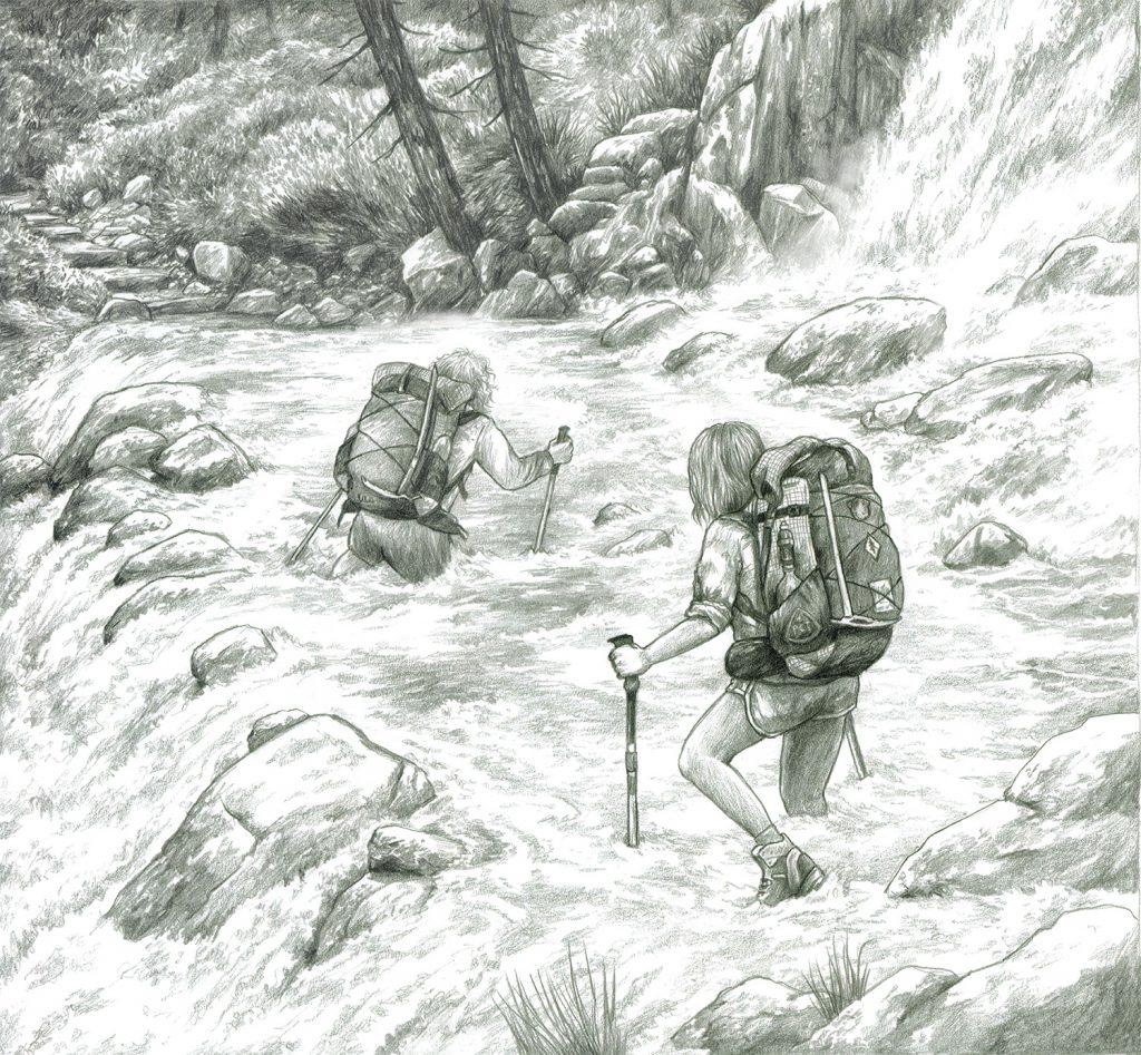 Pacific Crest Trail Fluss überqueren
