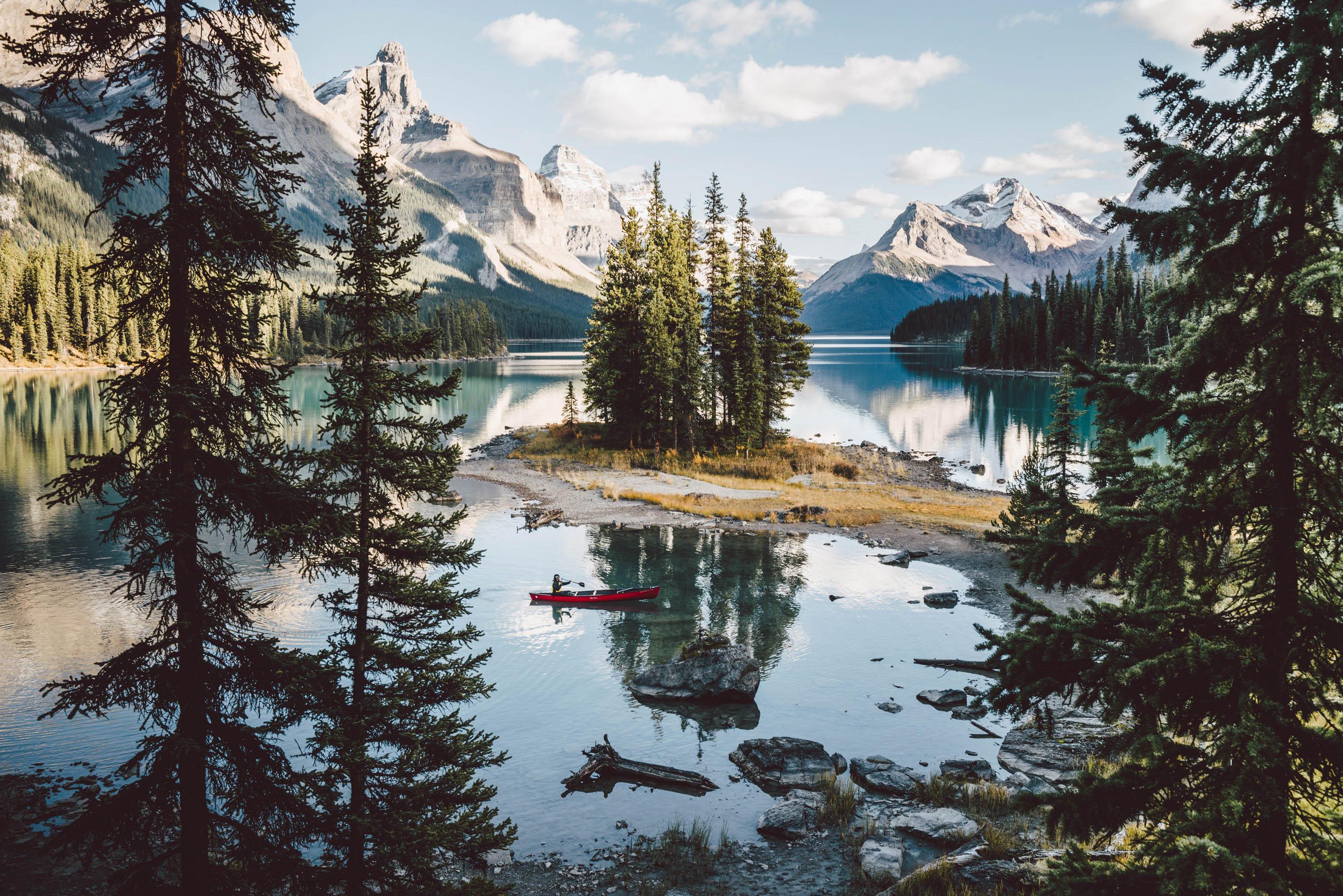 Cano, Canada, lake, kayak, paddling, mountain landscape photography, wilderness