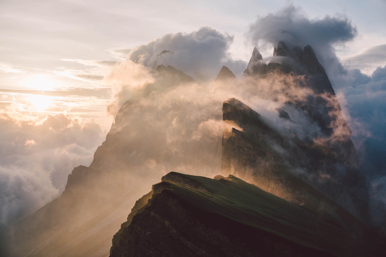 mountain landscape photography, Geisler,, Odle, Dolomites, South Tyrol, sunrise, clouds