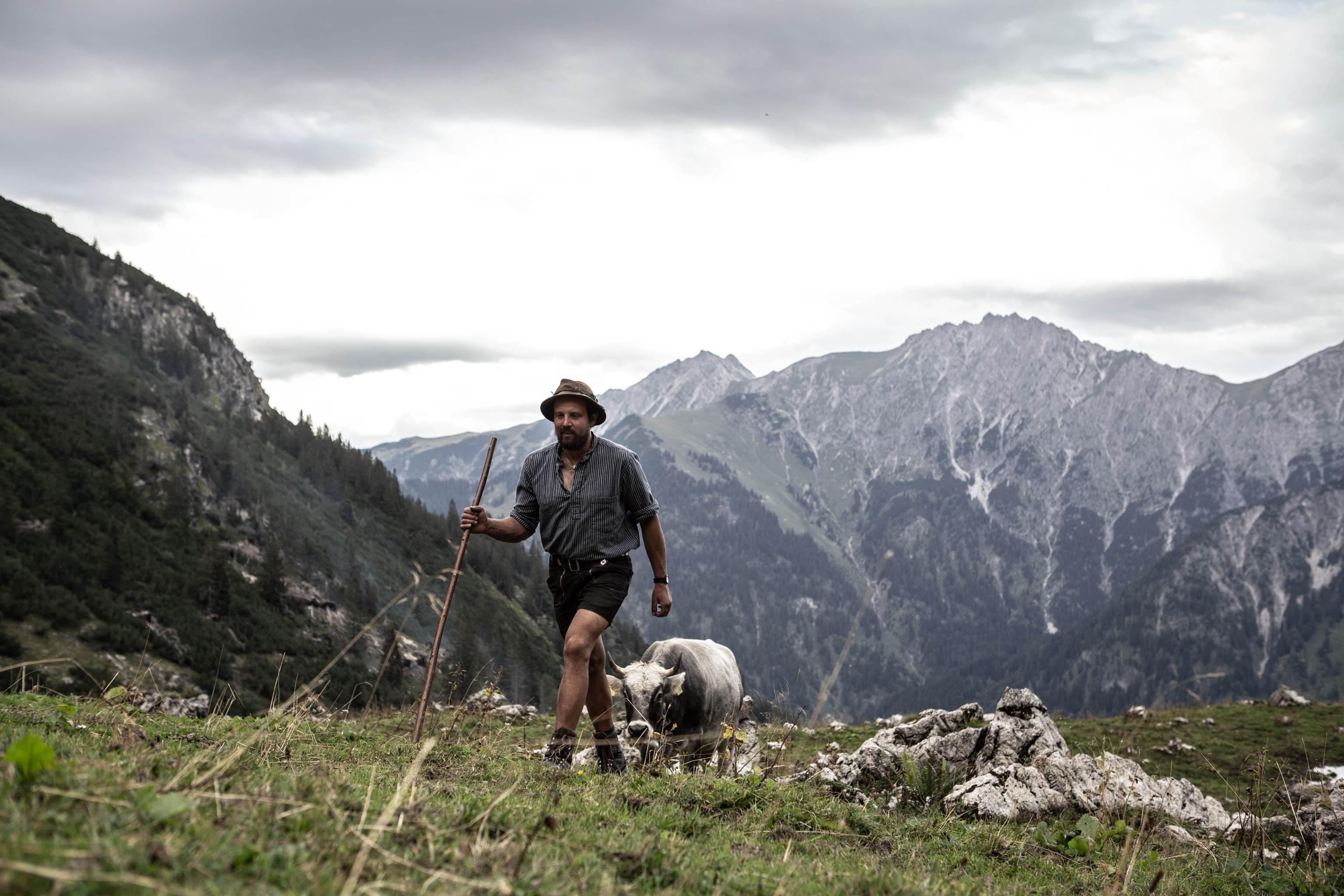 Mountain farmer Georg Rädler at his mountain hut in the Allgäu region of Bavaria