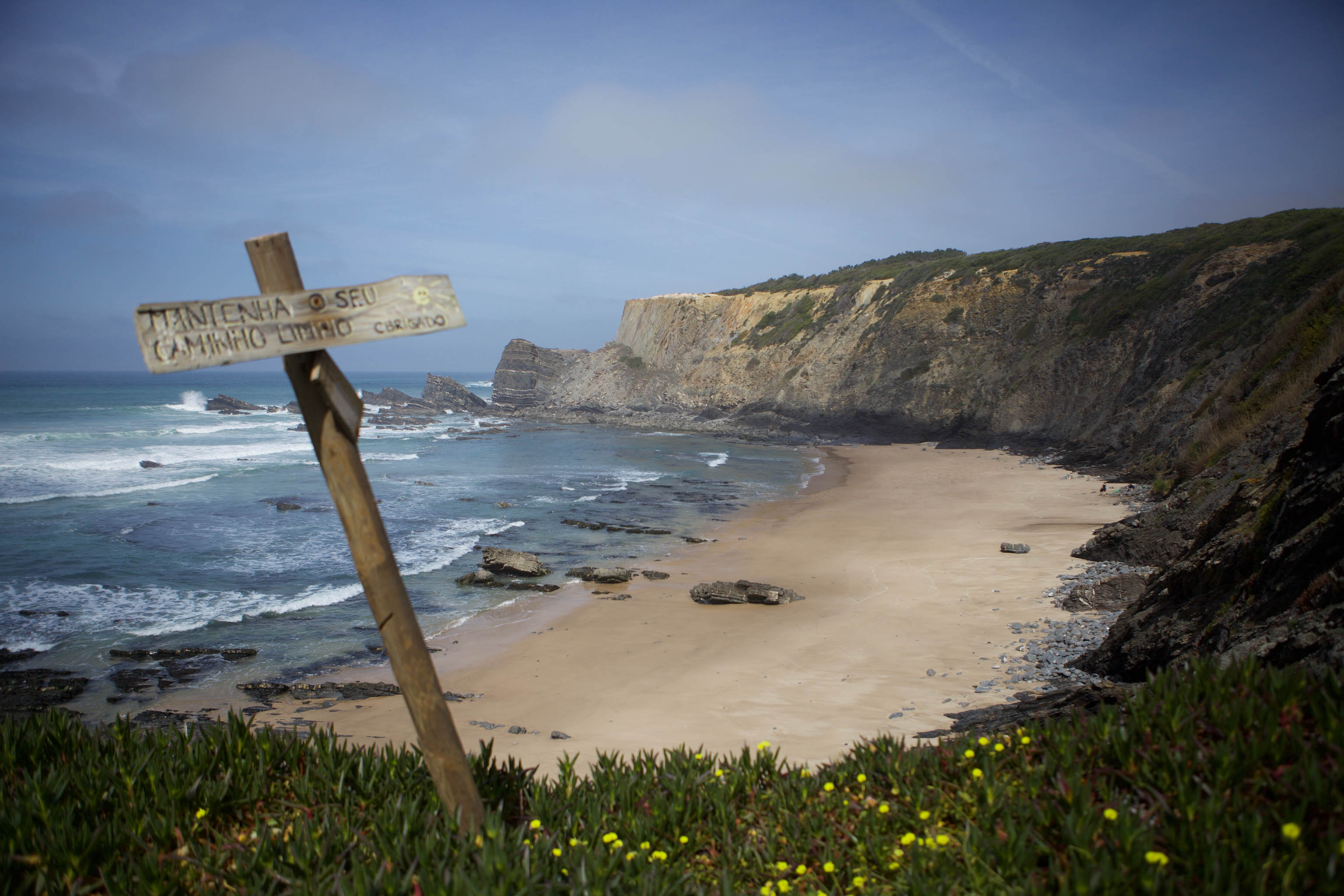 Isolated beach on Fisherman's trail Portugal
